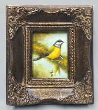 Miniature oil painting beautiful yellow finch bird on tree branch ornate frame