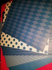 Scrapbook paper 12x12 DOTS STRIPES  BLUE 5 pgs