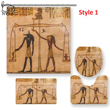 Ancient Egypt Shower Curtain Pedestal Rug Lid Toilet Cover Mat Bath Mat Set
