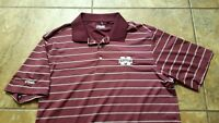Men's PING M State Maroon Striped Golf Polo Shirt Size Large