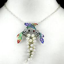 Collier Bienen Perle Rubin 925 Silber