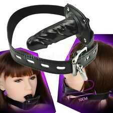 Restriant Leather Strap Mouth Gag Oral Long Plug Novelty Fetish Toy Lockable New