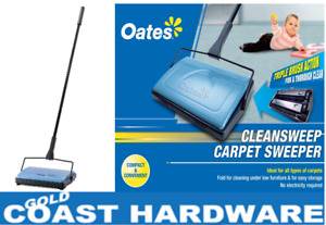 Oates Clean Sweep Manual Carpet Sweeper Push On Triple Action Brush With Handle