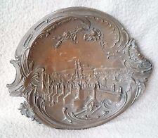 """Antique Art Nouveau autrichien? bronze effet métal carte bijou plateau """"Prague"""""""