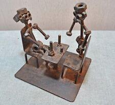 Original Vintage Hand Crafted Iron Nut Bolts Tea Party Figurine Unique Figure