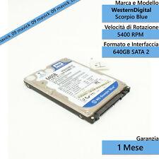 HARD DISK HDD Notebook PS3 Western Digital Scorpio Blue 640GB SATA 2.5'' Interno