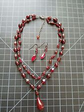 Red Glass Beaded Teardrop Gothic Necklace with Red Crystal Drop Earrings