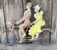"Vintage MCM SEXTON 1967 Metal Tandem Bicycle Bike Wall Art Patina 23""x17"" 60's"