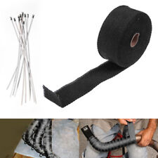 10M BLACK HEAT WRAP EXHAUST MANIFOLD DOWNPIPE 10 CABLE TIES 30cm 1000 Degree New