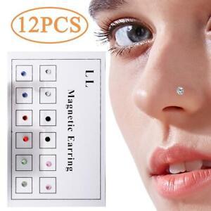 12pcs Magnetic Earrings Nose Nails Fake Piercing Fake Nose Ring Nose Ring
