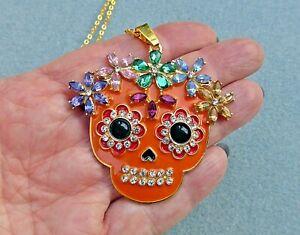 Sugar Skull Necklace, Day of the Dead, Halloween, Goth, Pagan, Santa Muerte