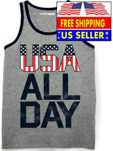 *MENS M FIFTH SUN USA ALL DAY ATHLETIC SLEEVELESS GRAPHIC TANK TOP, HEATHER GRAY