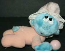"Vintage Baby Smurf plush Rattle Pink Blue 7"" Toy  Applause Wallace 1980s"