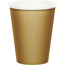 24 Glittering Gold Wedding Birthday Party Tableware 9oz Paper Beverage Cups