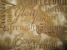 MILITARY USA WORDS GLORY LIBERTY COURAGE TAN COTTON FABRIC FQ