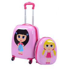 "2Pc 12"" 16"" Kids Girls Luggage Set Suitcase Backpack School Travel Trolley ABS"