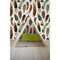 Watercolor feather Removable wallpaper brown and white wall mural