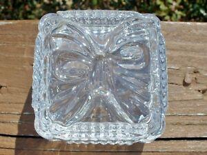 Vintage Lead Crystal Trinket Box with Bow 24% Yugoslavia Raised bow Design