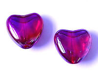 20 Crystal Glass 12mm Heart Beads Red AB