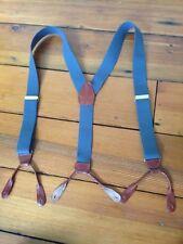 Medium Gray Elastic Leather Loop Brass Buckle Mens Adjustable Suspenders Braces