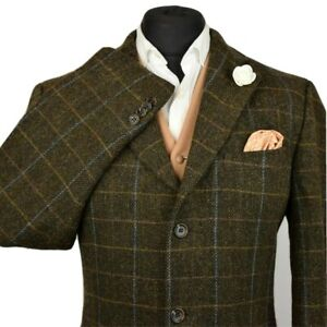 Harris Tweed Tailored Country Checked Brown Blazer Jacket 42R #991 STUNNING