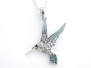 Hummingbird Crystal Silver Plated Pendant Chain Necklace Jewelry Sorority Blue