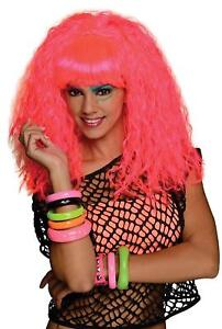 Rock N Rave Wig Pink Neon 80s Party Halloween Costume Accessory Cosplay Rockstar
