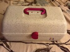 Vintage Caboodle Pink and Gray Organizer Storage Case Make Up Crafts Crafting
