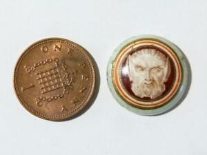19thC Classic POINTY EARS BEARD MAN CAMEO Porcelain Plaque Fitting Mount #R4