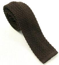 """ralph lauren black label italy brown crunchy silk knit neck tie 56.5"""" x 2"""""""