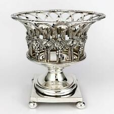 VICTORIAN SILVER PLATE Footed BOWL / BASKET Grape Border Decoration