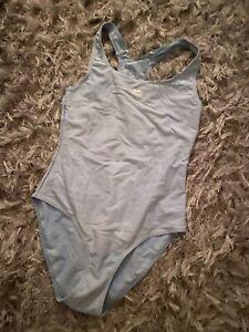 Slazenger Pale Blue Racer Back Swimsuit Size 12 Lined front