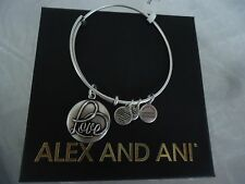 ALEX AND ANI LOVE III Russian Silver Finish Bangle Bracelet New W/Tag Card & Box