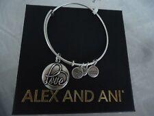 ALEX AND ANI LOVE III Russian Silver Finish Bangle Bracelet New W/Tag Card & Box