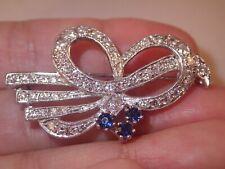 milgrain pin 11.7g Not scrap! Heavy Platinum 2.01Tcw diamond sapphire floral