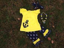 yellow anchor capri set 4th of july chunky bead headband size 7