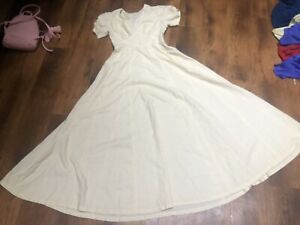 True Vintage 70s Cream Prairie Cottagecore Peasant Hippy Boho Maxi Long Dress 12