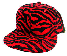 RED & BLACK FAUX ZEBRA TIGER  PRINT SNAPBACK HAT CAP FLAT BILL ANIMAL ADJUSTABLE