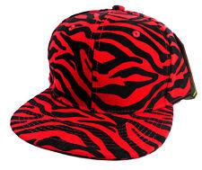 RED & BLACK FAUX ZEBRA TIGER  PRINT SNAPBACK HAT CAP FLAT BILL ANIMAL ADJUSTABLE