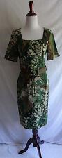 Designer Carrie Hutton 2 Boho Camo Linen Stud Fringe Belt Festival Gypsy Dress