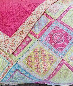 "Pottery Barn Kids Full Quilt Cotton 86""x86""Bright Neon, Pink, Multi EUC"