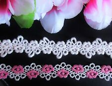 Lovely white and pink Venise lace trim / ribbon - price for1 yard/select color/