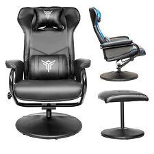 Massage Recliner Chair & Ottoman PU Leather Swivel Sofa Armchair Home Furniture