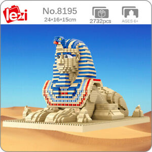 Lezi World Architecture Egypt Pharaoh Sphinx 3D Mini Diamond Blocks Building Toy