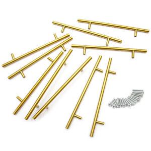 10x T-Stangengriffe Möbelgriffe Relinggriffe Schrankgriff GOLD Stangengriff