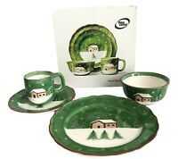 Macy's The Cellar Log Cabin 4 Piece Place Setting Christmas Holiday Winter Green