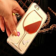 For iPHONE 4 4S - Hard Clear Protector Skin Case Cover Red Wine Glass