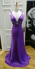 Purple silk satin evening or prom dress size 10-12