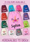 Personalised Any Name Unicorn Girls Back To Drawstring Bag PE GYM School Kids