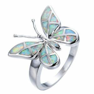 925 Silver White Fire Opal Butterfly Ring Wedding Women Jewelry Rings Size 5-11
